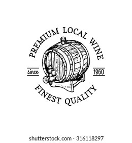Wine logo. Vector winery sign with wooden barrel. Typographic label, badge with hand sketched keg. Used for restaurant, cafe, bar menu.