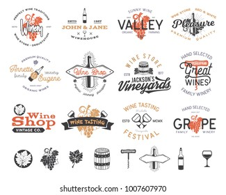 Wine logos, labels set. Winery shop, vineyards badges collection. Retro Drink symbol. Typographic design illustration. Stock vector emblems and icons isolated on white background.