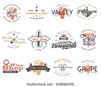 Wine logos, labels set. Winery shop, vineyards badges collection. Retro Drink symbol. Typographic design illustration. Stock vector emblems isolated on white background