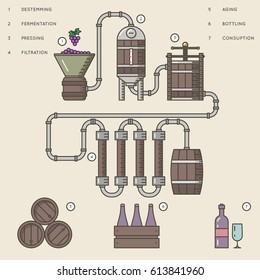 Wine making process or winemaking infographic vector illustration. Process production beverage from grape