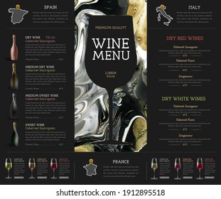 Wine menu design with alcohol ink texture. Marble texture background