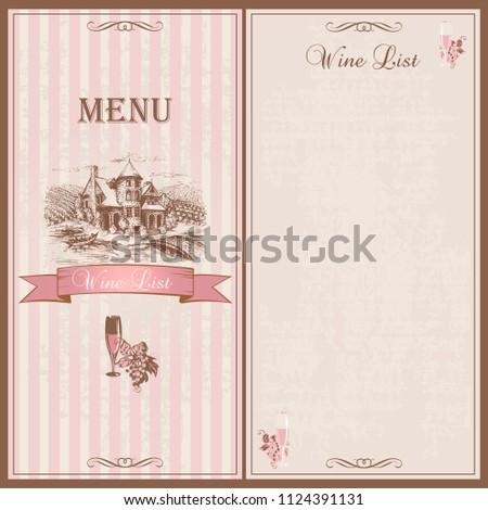 Wine Menu Wine List Template Design Stock Vector (Royalty Free ...