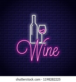 Wine neon banner. Bottle and wine glass neon sign on wall background