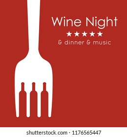 Wine night event cover with modern style text and custom fork.