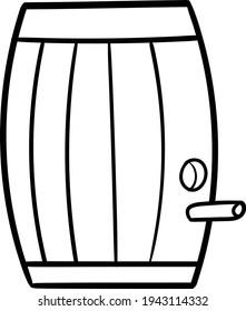 Wine old wooden barrel with hole outline black line vector clipart on transparent background