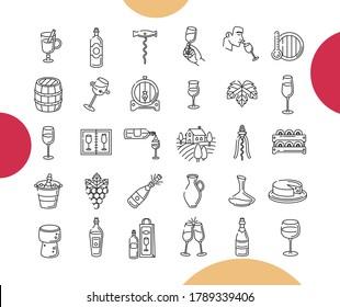 Ensemble d'icônes de contour de vin. Grande collection d'illustrations sur le thème du vin de course
