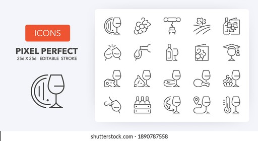 Wine and wine pairing thin line icon set. Outline symbol collection. Editable vector stroke. 256x256 Pixel Perfect scalable to 128px, 64px...