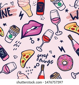 Wine pattern. Fashion patch badges. Seamless pattern with pink girl stickers  for textile. fashion Modern grunge background textile, prints, paper products, the Web. Girls pattern