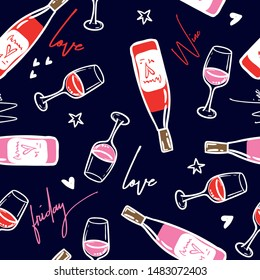 Wine pattern. Fashion Seamless pattern with pink girl stickers  for textile. fashion Modern grunge background textile, prints, paper products, the Web. Girls pattern