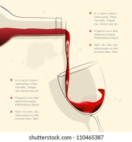 Wine pouring into wine glass. Vector illustration