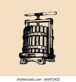 Wine press illustration. Vector alcoholic beverages logo. Hand sketched vinemaking element in engraved style.