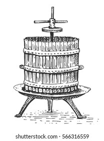 wine press vintage engraved hand drawn illustration.