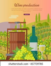 Wine production banner. Bottle of wine, beaker vineyard, wooden barrel, with grape valley on background. Creative advertisement poster for white wine. Part of series of viniculture preparation. Vector