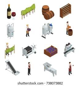 Wine production isometric set of grapevine wooden barrels vineyard transporter sommelier rack of vine bottles vector illustration