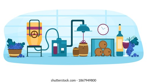 Wine production process. Fermentation, distillation, pressing, aging and bottling alcohol drink. Wooden barrel with wine. Cartoon flat vector illustration