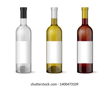 Wine realistic 3d bottle with blank white label template set for alcohol industry design. Vector illustration EPS10