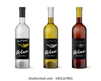 Wine realistic 3d bottle with hand-drawn label retro vintage design template set. Vineyard wine grapes hills farm emblem. Monochrome romantic rural landscape, white on black. Vector illustration
