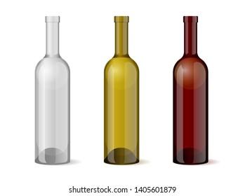 Wine realistic 3d bottle template set for alcohol industry design. Vector illustration