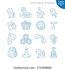 Wine related icons. Editable stroke. Thin vector icon set