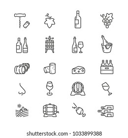Wine related icons: thin vector icon set, black and white kit