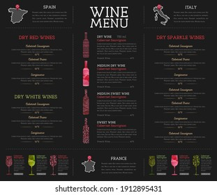 Wine restaurant menu design with watercolor texture. Chalk board background