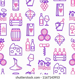 Wine seamless pattern with thin line icons: corkscrew, wine glass, cork, grapes, barrel, list, decanter, cheese, vineyard, bucket, shop, delivery. Modern vector illustration.
