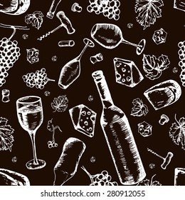 Wine seamless pattern. Vector texture in hand draw style