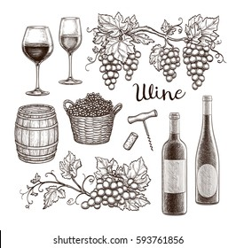 Wine set isolated on white background. Hand drawn vector illustration. Vintage style.
