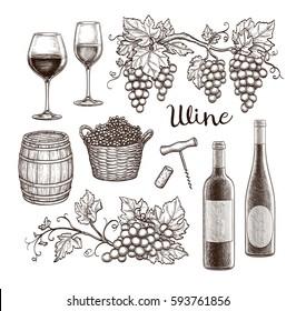 Wine set isolated on white background. Hand drawn vector illustration. Vintage style.