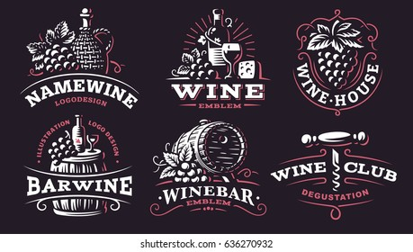 Wine set logo - vector illustrations, emblems design on dark background.