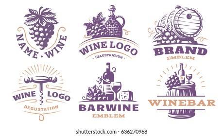 Wine set logo - vector illustrations, emblems design.