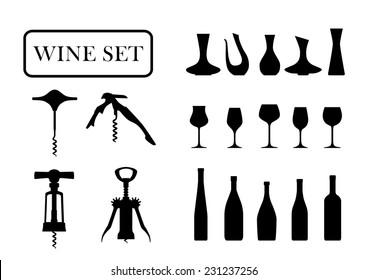 wine set on a white background