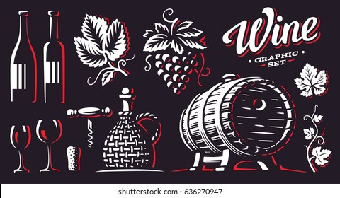 Wine, set vector illustrations, design on dark background.