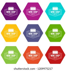 Wine shop icons 9 set coloful isolated on white for web