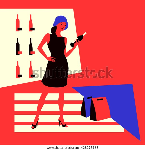 Wine shopping. Young woman in a wine store, choose a bottle of wine. Vector illustration