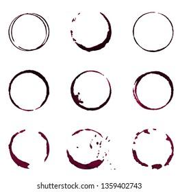 Wine stain design element set