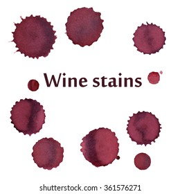 Wine stains isolated on white, vector