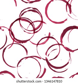 Wine stains vector red watercolor seamless pattern