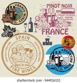 Wine stamps or symbols set, vector illustration