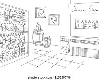 Wine store shop interior. Black and White graphic sketch.