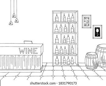 Wine store shop interior black white graphic sketch illustration vector