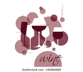 Wine symbol. Illustration with wineglasses. Design element for tasting, menu, wine list, restaurant, winery, shop. Label, sign, icon with  red grape wine.