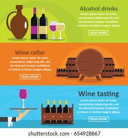 Wine tasting banner horizontal concept set. Flat illustration of 3 wine tasting vector banner horizontal concepts for web