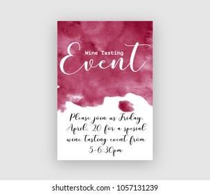 Wine tasting event flyer template, vector illustration. Handdrawn watercolour texture, calligraphic lettering, invitation graphic design.