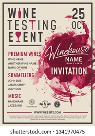 Wine tasting invitation card, poster, flyer, brochure vector design template