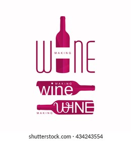 wine tasting logo vector, wine making