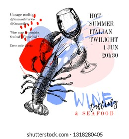Wine tasting and seafood party poster. Vector hand drawn lobster with a glass of wine. Italian sea fingerfood banner. Modern abstract background. Vintage restaurant menu, invitation, flyer design.