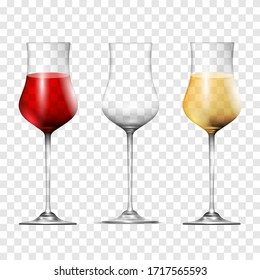 Wine transparent glasses, vector set realistic 3d style. One empty and others with red and white wine