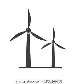Wine turbine icon showing wind power on white background. Vector