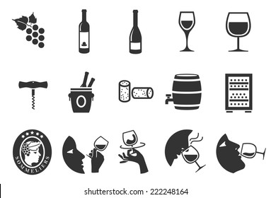 Wine vector illustration icon set. Included the icons as red wine, white wine, glasses, sommelier, tasting, ferment and more.